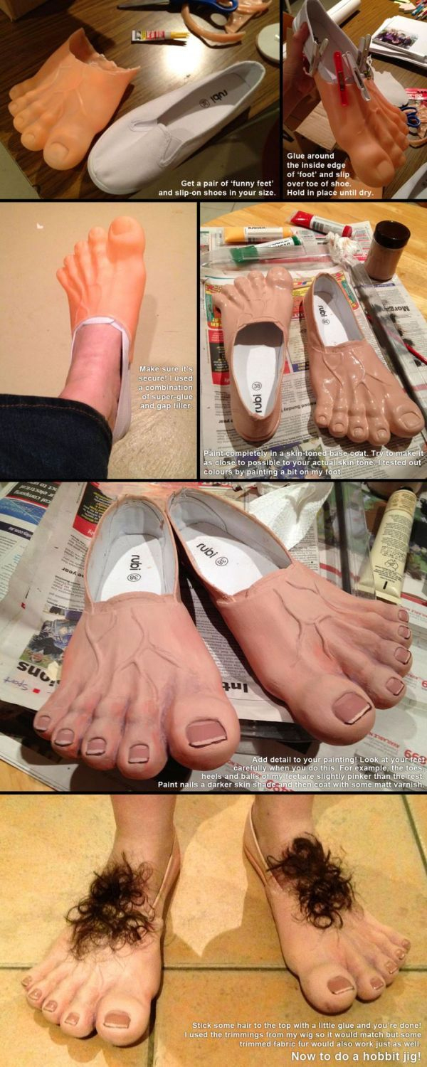 How To Make Your Own Hobbit Feet | Idées De Déguisement serapportantà But Foot Enfant