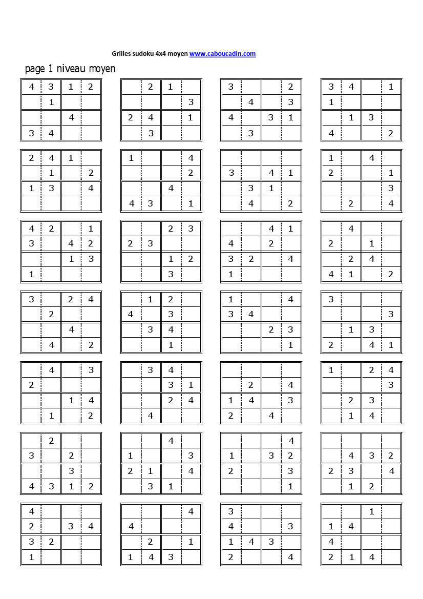 Http://.caboucadin/jeux-A-Imprimer/albums/jeux-De pour Grille Sudoku Gratuite À Imprimer
