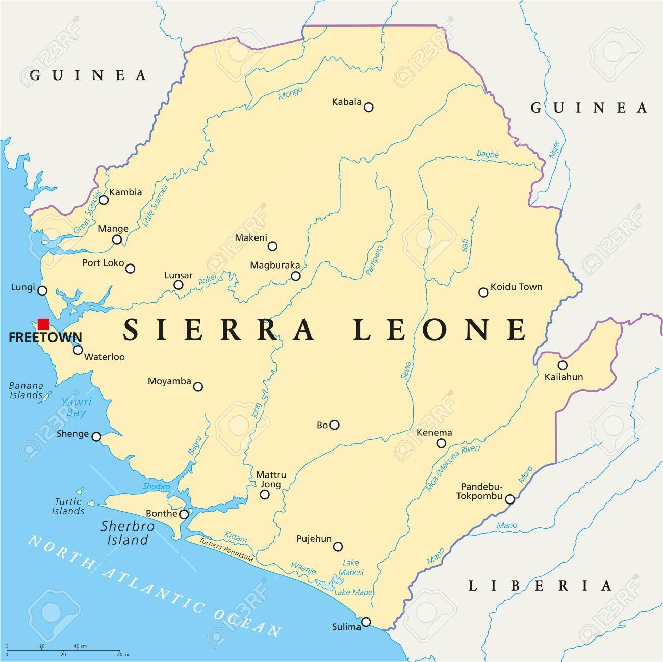 Hydrographie – Sierra Leone dedans Carte Des Fleuves