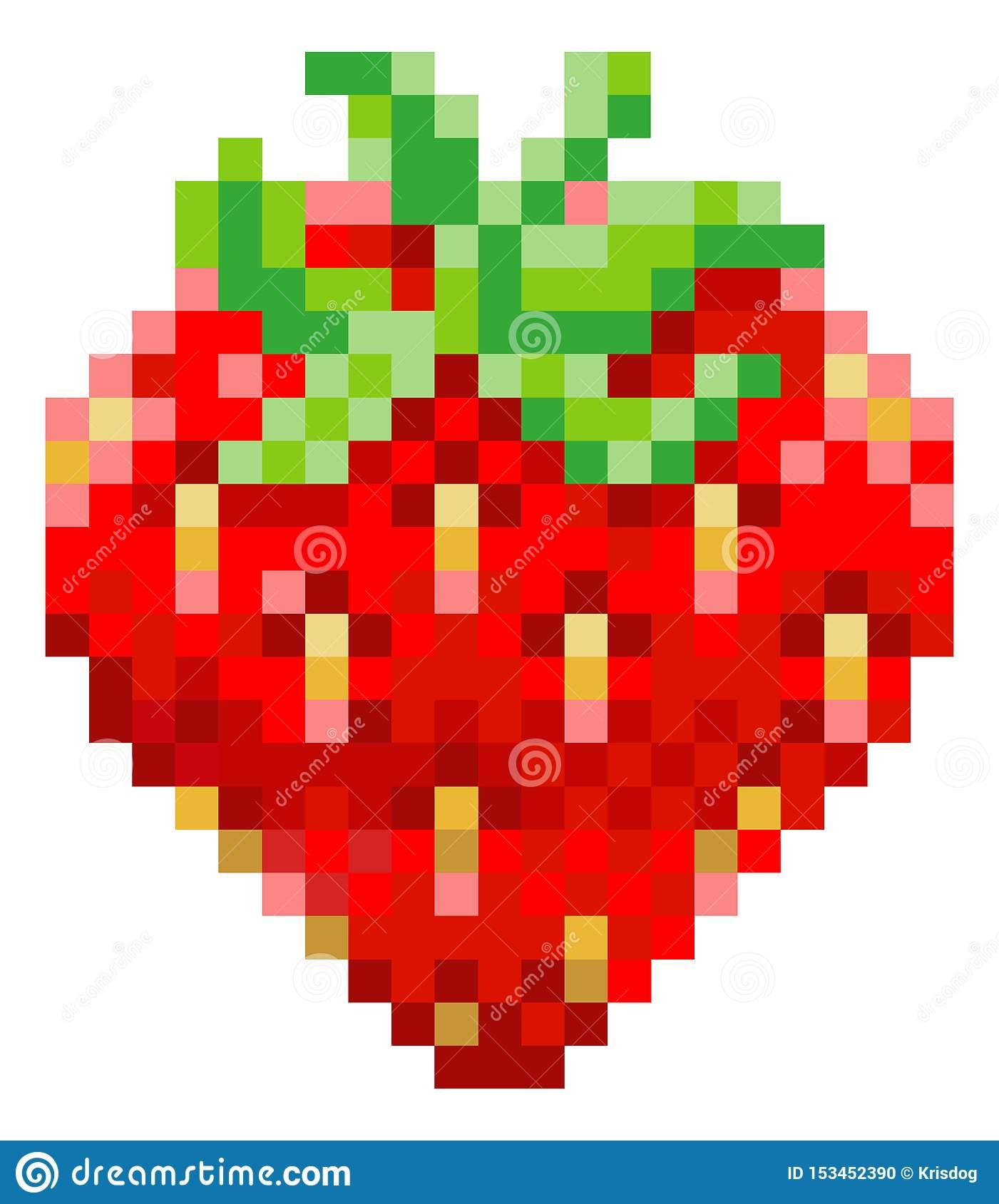 Icône Mordue De Fruit De Jeu Vidéo De L'art 8 De Pixel De pour Pixel Art Fraise