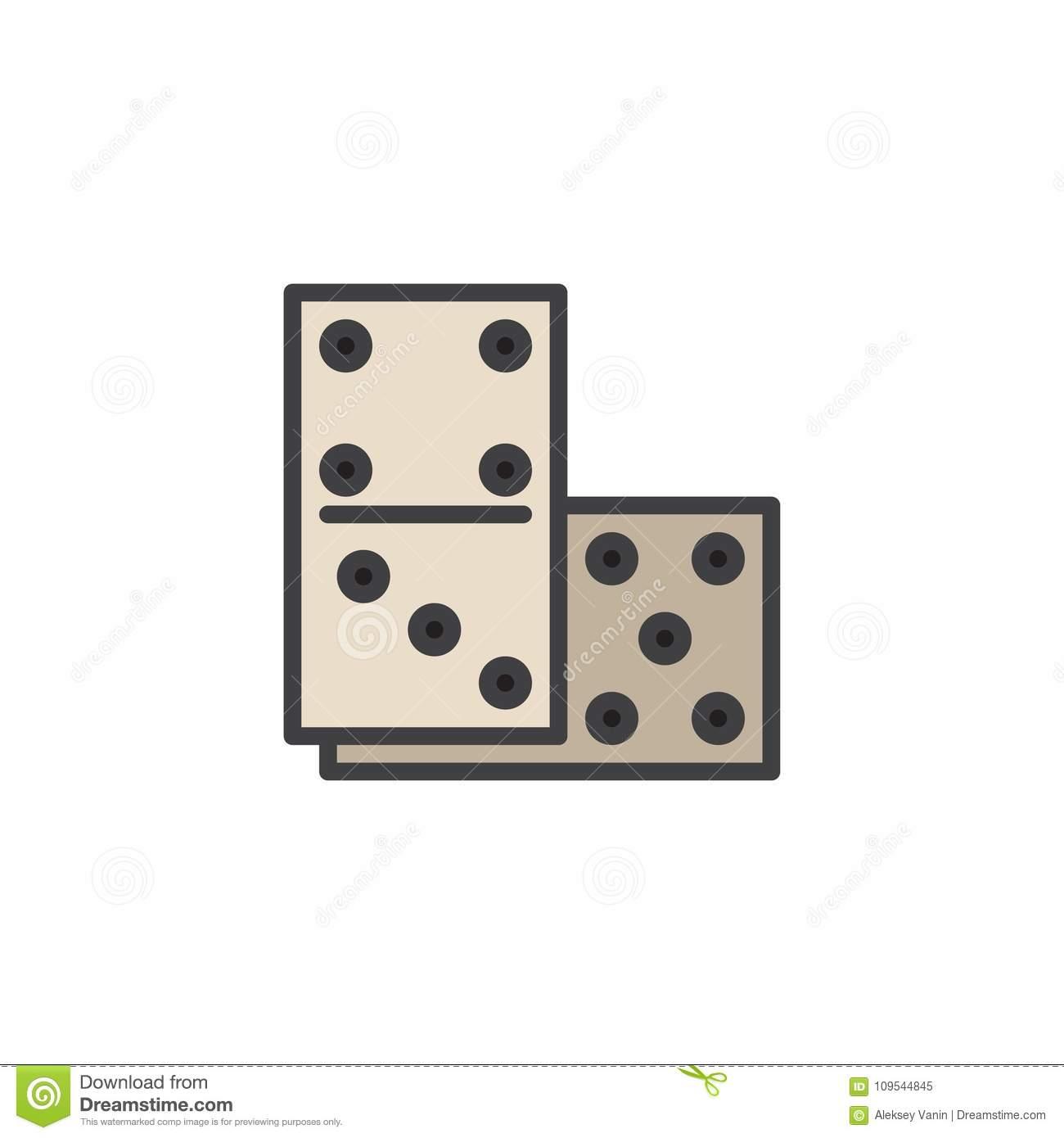 Icône Remplie Par Jeu D'ensemble De Dominos Illustration De serapportantà Jeux Domino Gratuit En Ligne