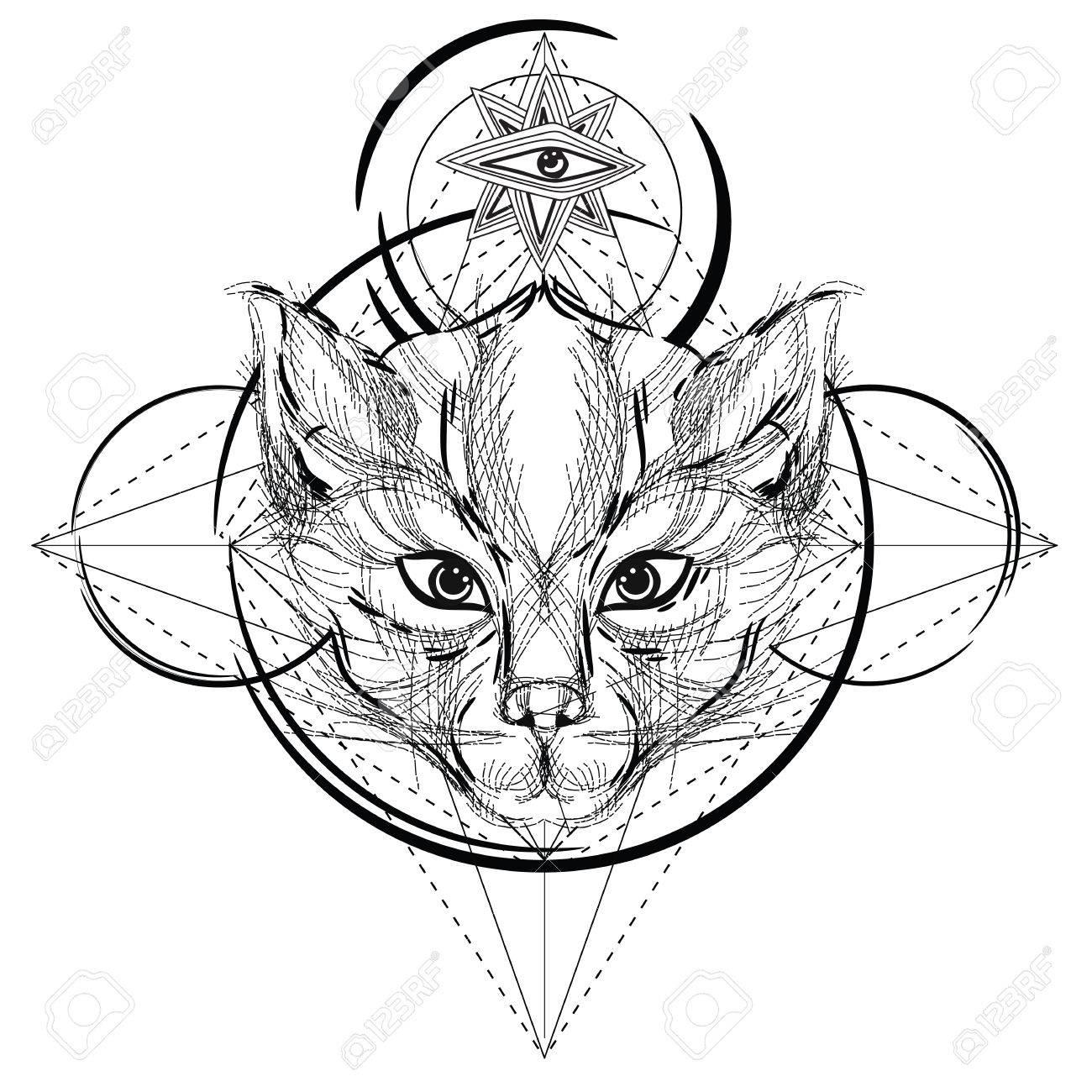 Icône Triangulaire Tête Animale, Conception De Ligne Géométrique À La Mode.  Illustration Vectorielle Prêt Pour Le Uage Ou L'adulte Se Détendre pour Coloriage De Chat En Ligne