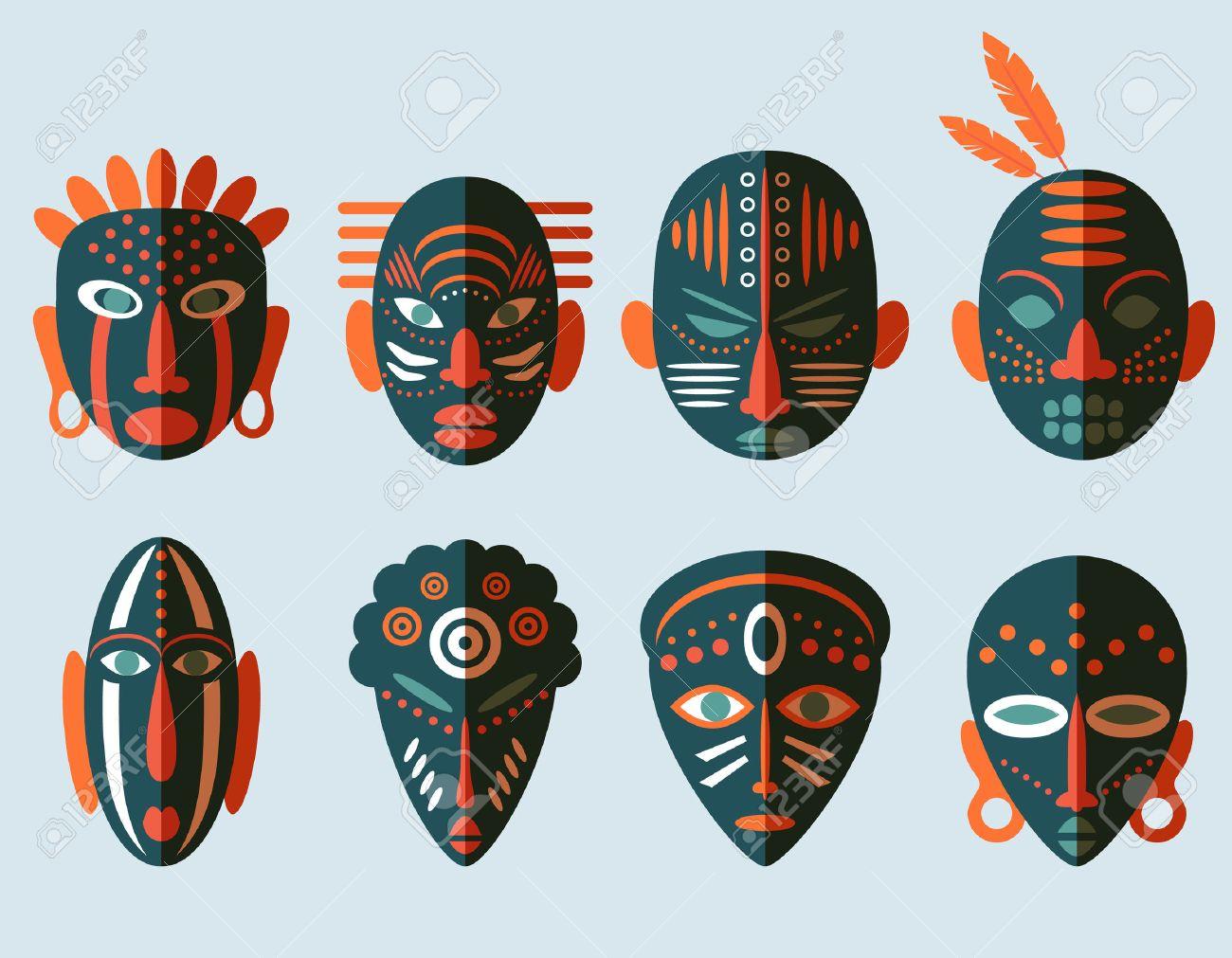 Icônes De Masque Africain. Design Plat. Symboles Rituels Tribaux dedans Masque Afriquain