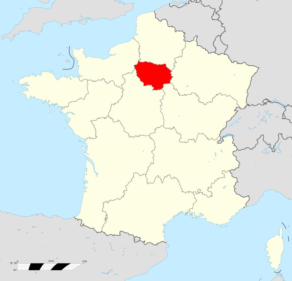 Île-De-France — Wikipédia pour Petite Carte De France
