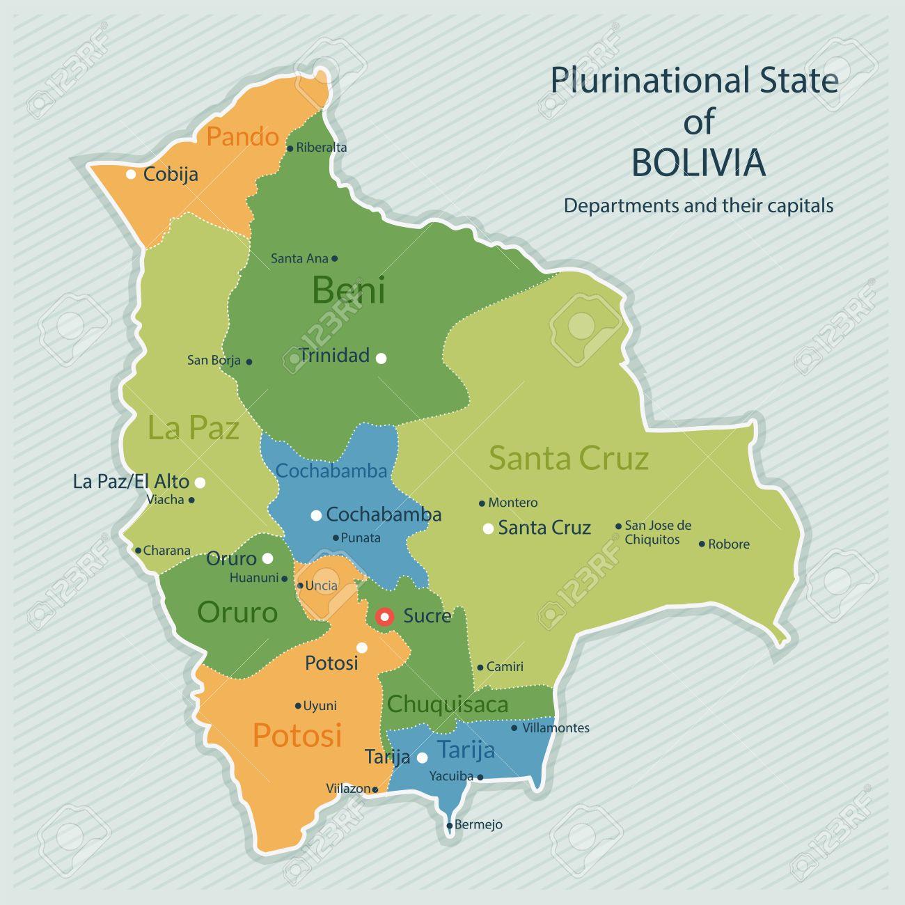 Illustration De La Carte Administrative De La Bolivie. Capitale Du Pays,  Départements Et Grandes Villes. Design Plat, Look Propre avec Carte Des Départements Et Villes