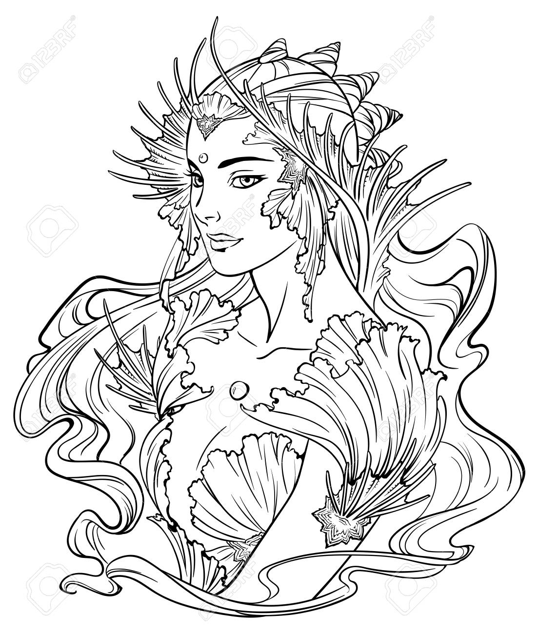 Illustration De Princesse De Sirène Avec Des Cheveux Frisés, Décorée Avec  Des Éléments De Coquillage. Noir Et Blanc, Anti-Stress. Livres De Coloriage intérieur Coloriage Princesse Sirene