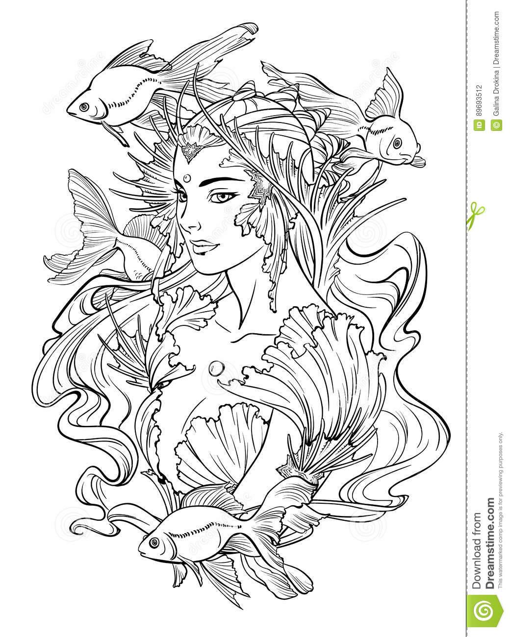 Illustration De Princesse Et De Poissons Rouges De Sirène dedans Coloriage Princesse Sirene