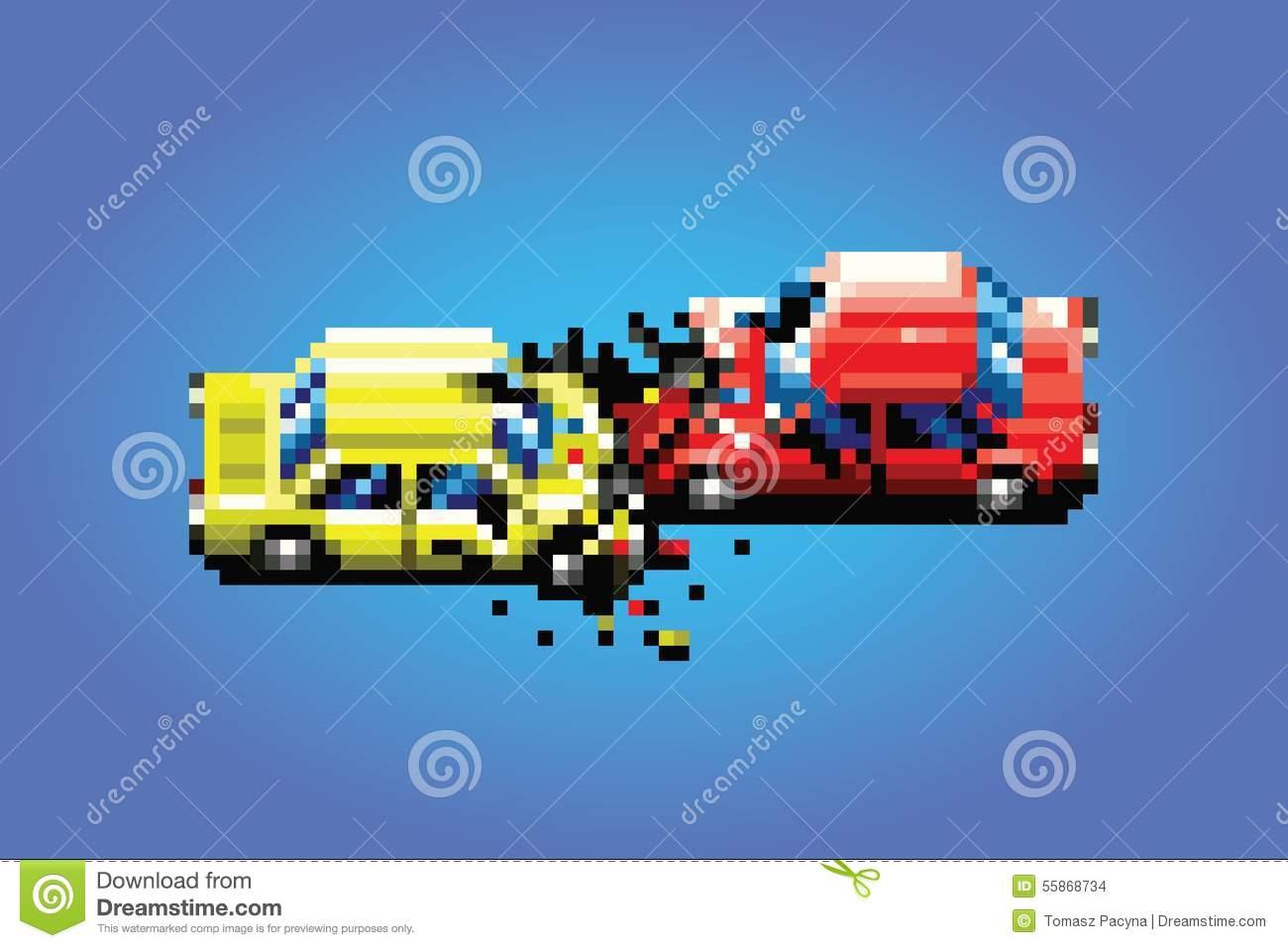 Illustration De Style De Jeu D'art De Pixel D'accidents D pour Jeux De Accident De Voiture