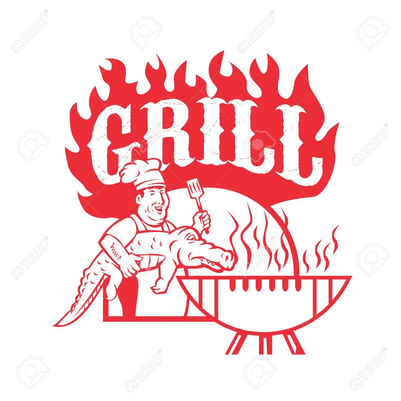 Illustration De Style Rétro D'un Chef De Bbq Transportant Un Gator À  Barbecue Grill Avec Des Mots Grill Sur Fond Isolé. concernant Mots Gator