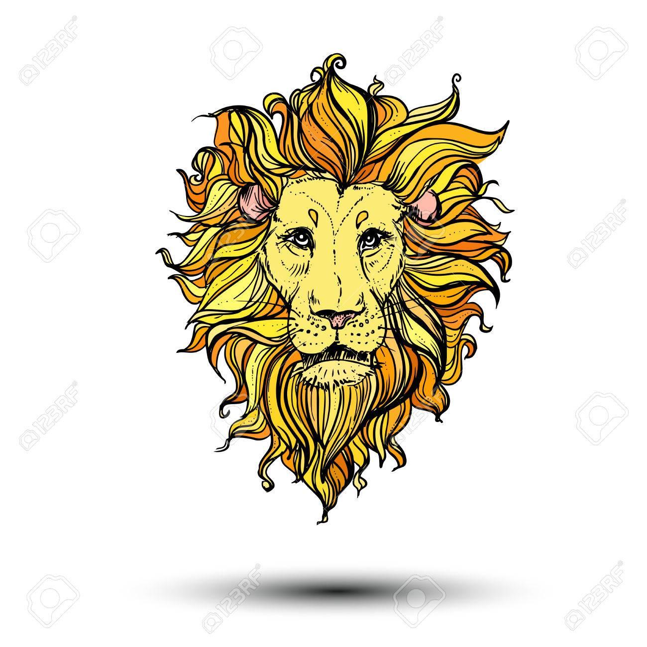 Illustration Du Lion De Couleur Doodle. Esquisser. avec Photo De Lion A Imprimer En Couleur