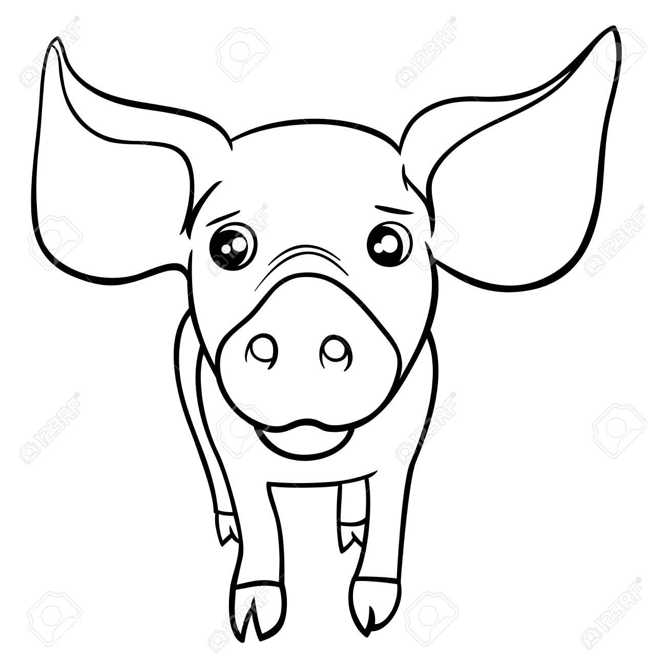 Illustration En Noir Et Blanc De Dessin Animé Mignon Petit Cochon Ou  Caractère Animal Porcelet Ferme Coloriage encequiconcerne Dessin À Colorier Cochon