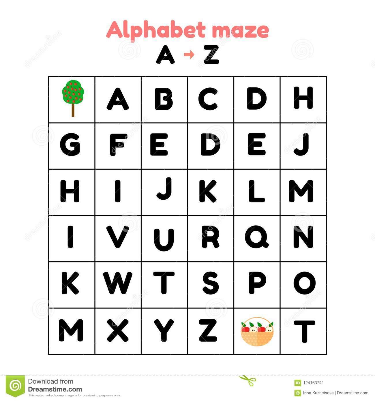 Illustration Jeu Pour L'école Maternelle Et Les Écoliers intérieur Activités Sur Les Lettres De L Alphabet En Maternelle