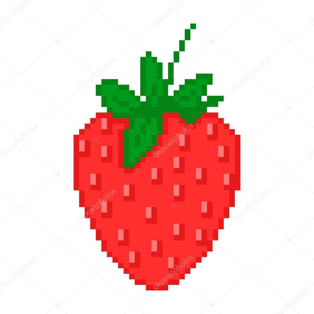Illustration Pixel Strawberry — Stock Vector © Lilipom #28372899 avec Pixel Art Fraise