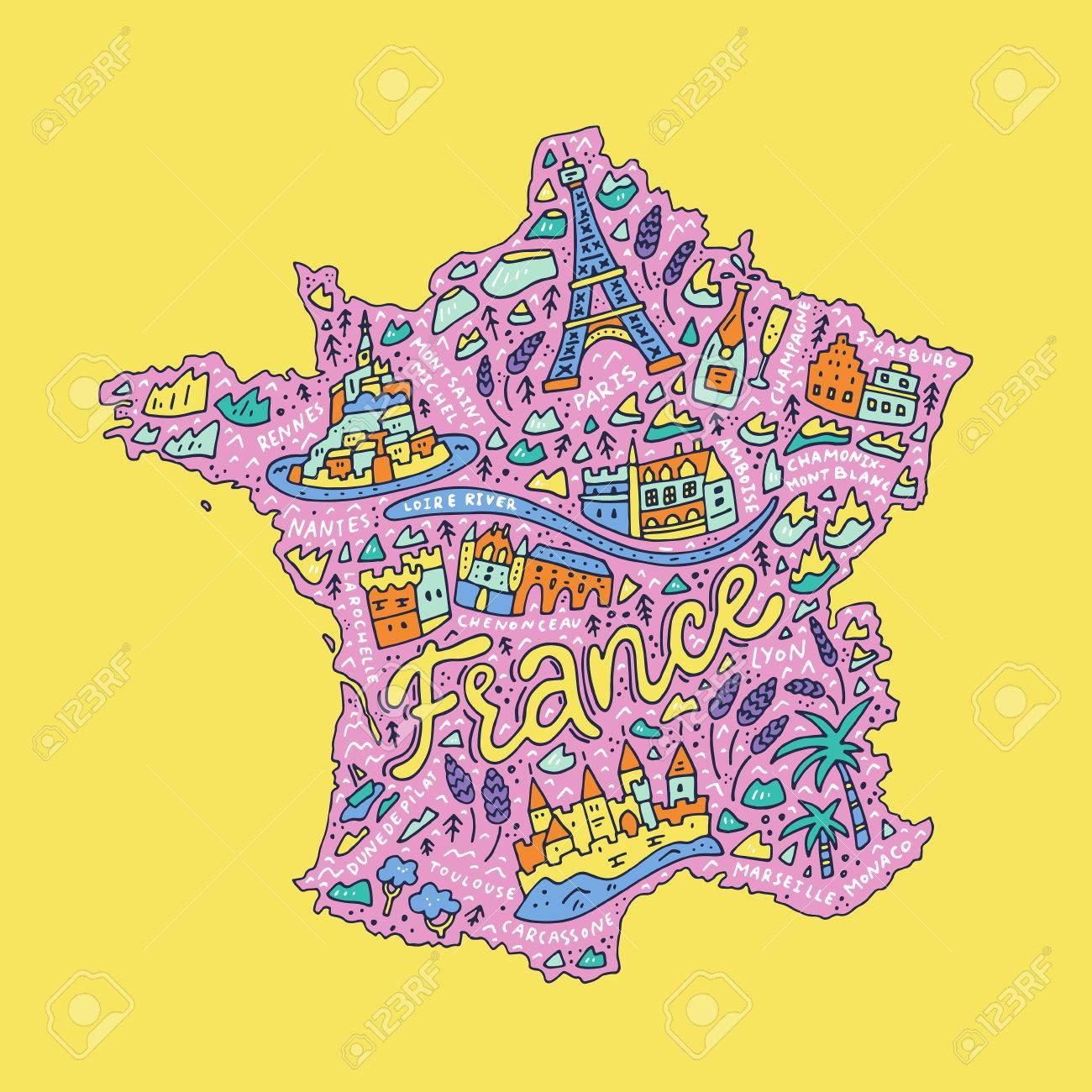 Illustration Vectorielle De La Carte De Dessin Animé De La France Avec Des  Symboles De Doodle Et Lettrage. à Dessin De Carte De France