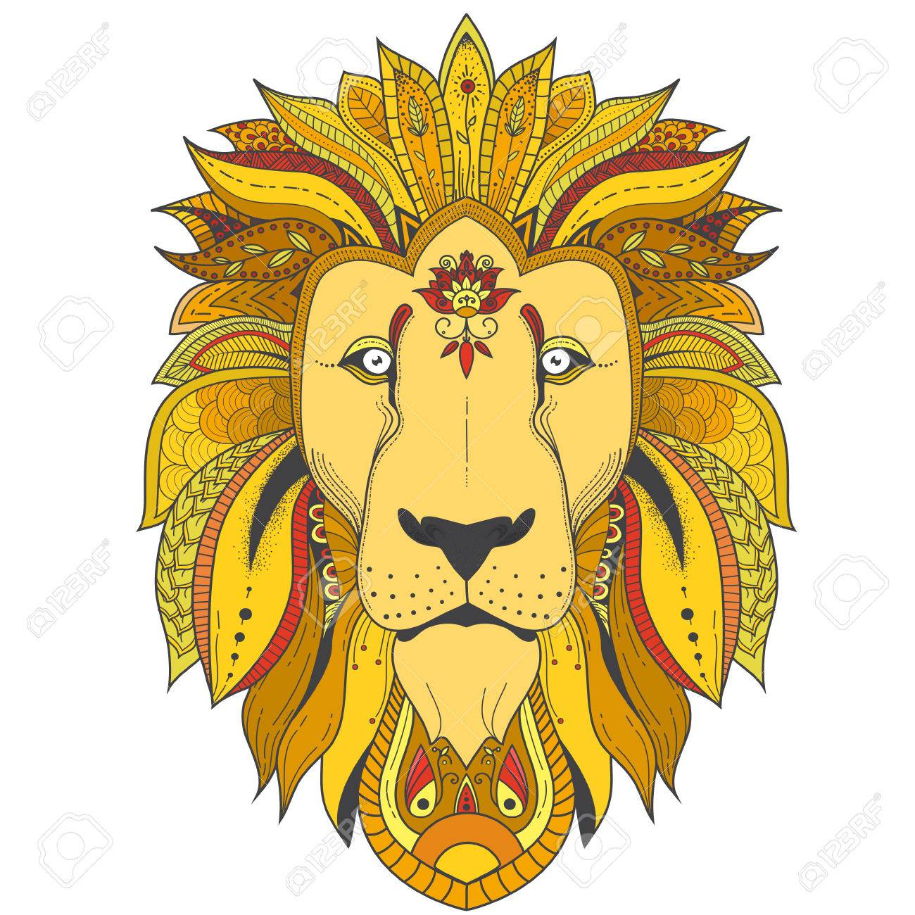 Illustration Zenart De Couleur Du Lion Avec Des Motifs De Mandala Tribaux.  Utilisé Pour L'impression, Les T-Shirts. dedans Photo De Lion A Imprimer En Couleur