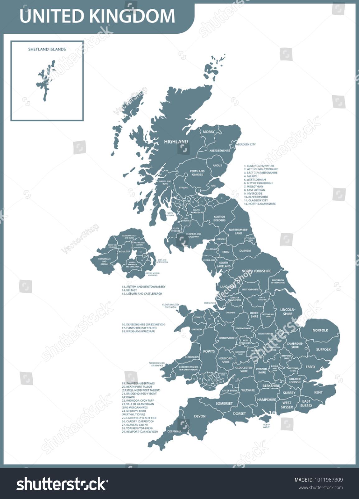 Image Vectorielle De Stock De Carte Détaillée Du Royaume-Uni à Carte Des 22 Régions