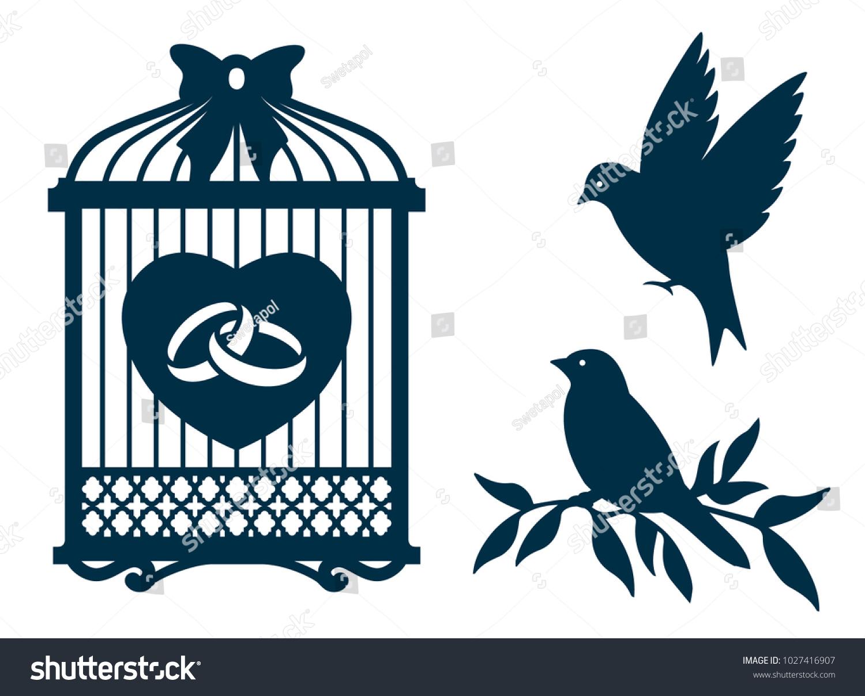 Image Vectorielle De Stock De Modèle De Coupe Laser. Cage D destiné Modèle Oiseau À Découper