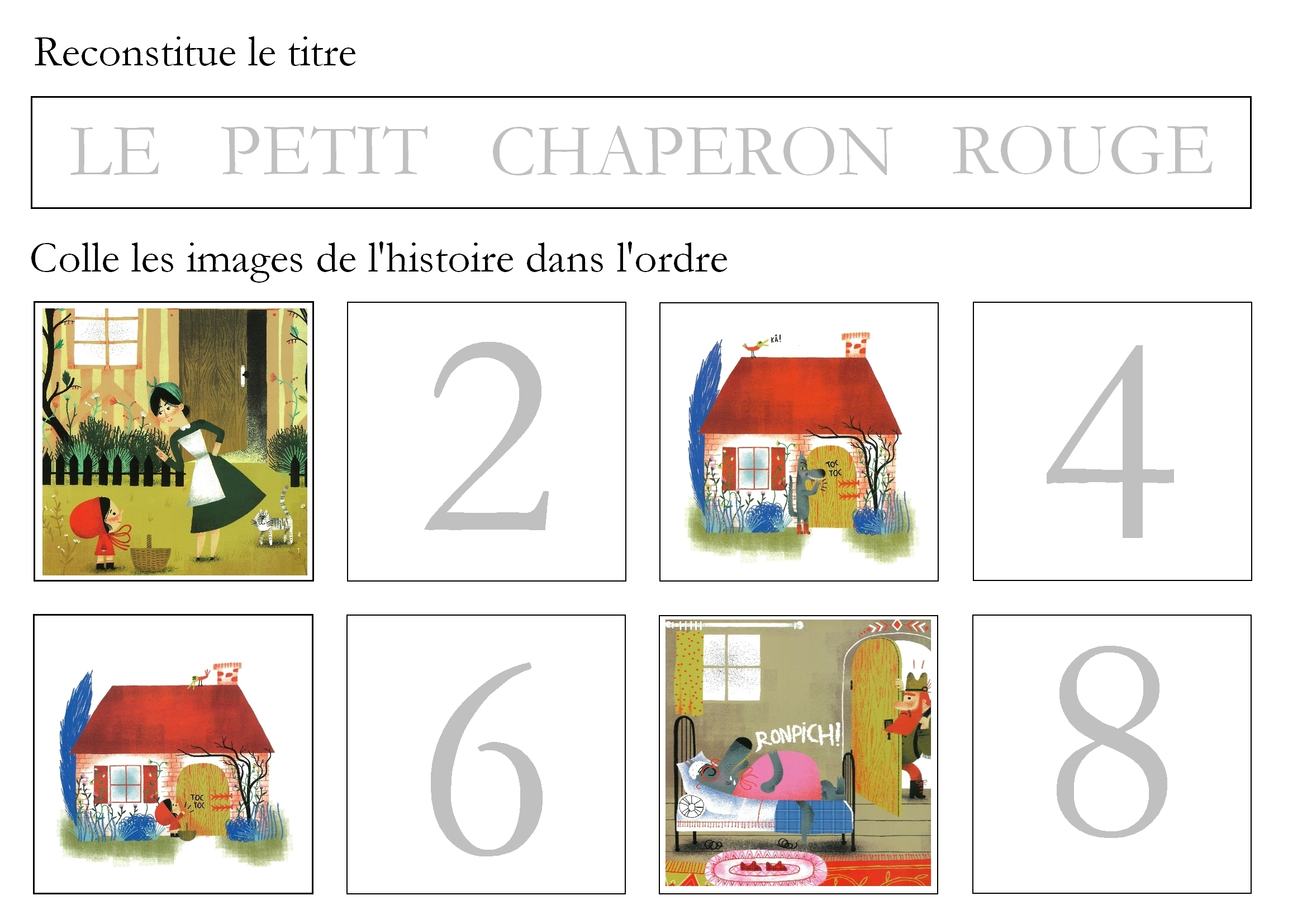 Images Séquentielles : Le Petit Chaperon Rouge - Maitresse à Images Séquentielles À Imprimer