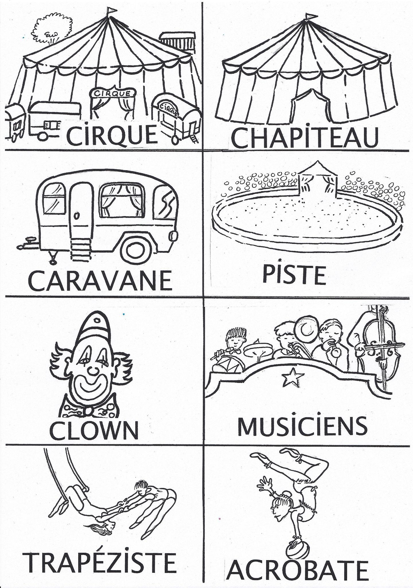 Imagier Cirque Noir Et Blanc | Cirque, Dessin Cirque serapportantà Coloriage Cirque Maternelle