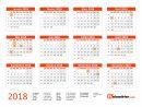Imprimer Calendrier 2018 Gratuitement - Pdf, Xls Et Jpg avec Agenda 2018 À Imprimer Gratuit