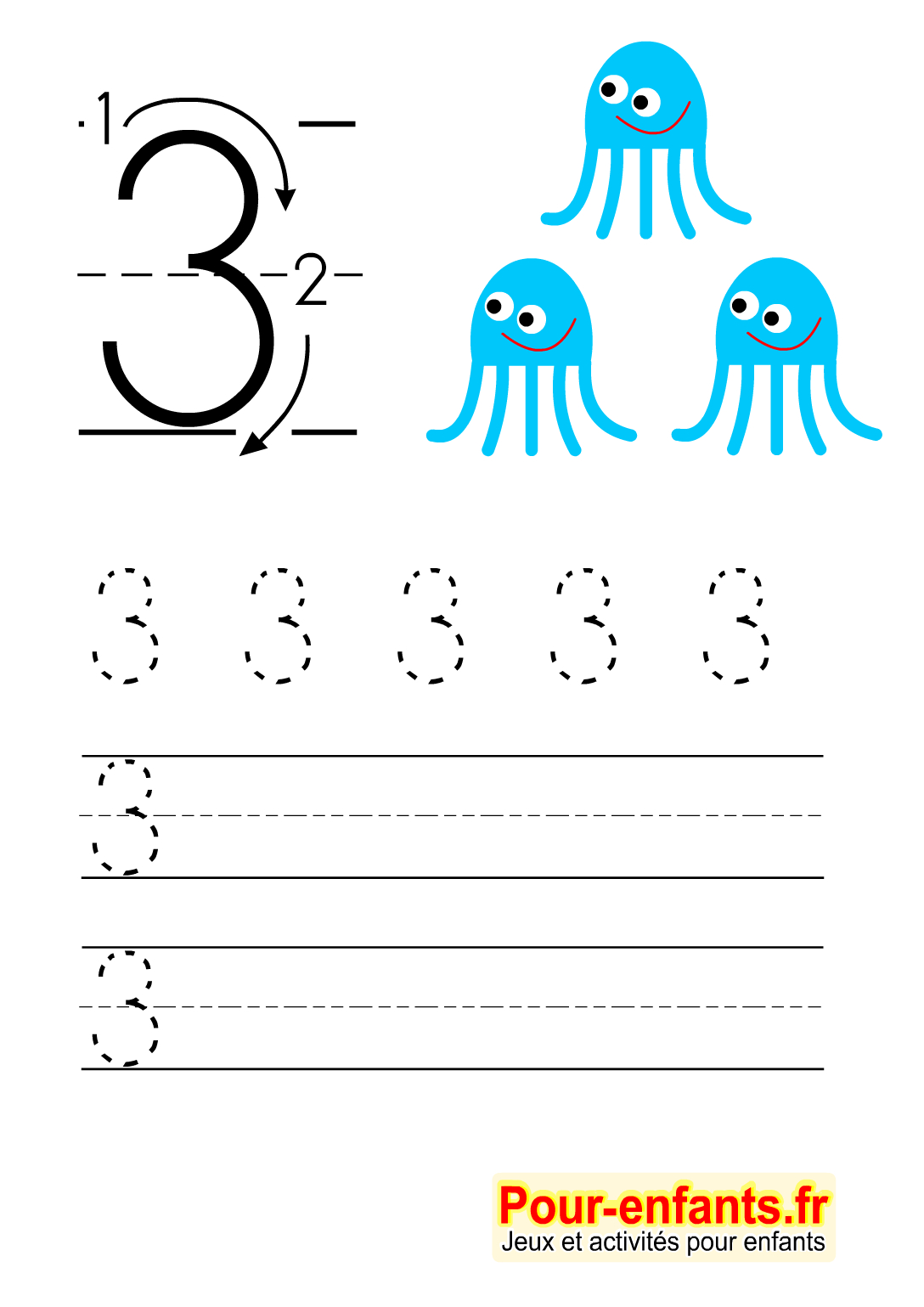 Imprimer Ecrire Les Chiffres En Maternelle  Apprendre destiné Fiche D Ecriture Pour Maternelle A Imprimer