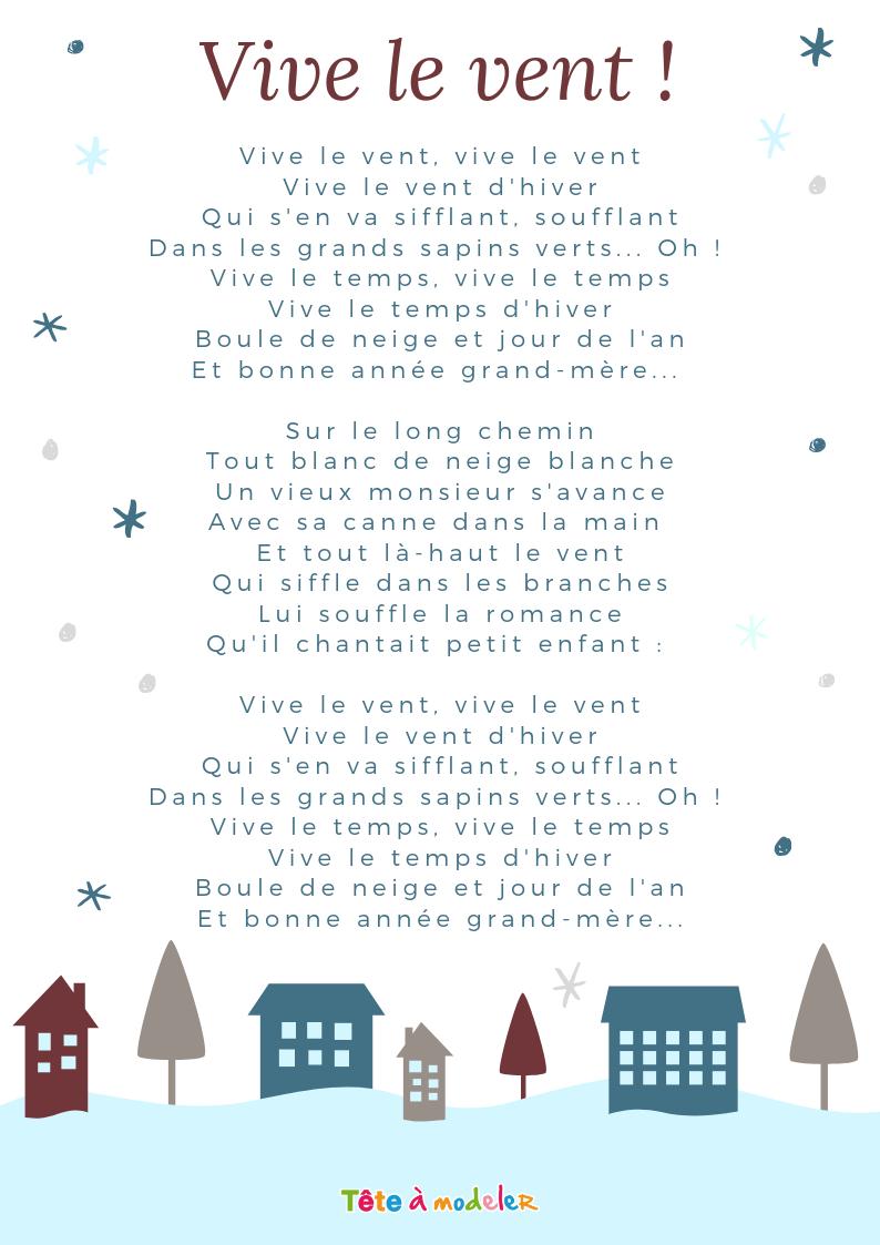 Imprimer La Chanson Vive Le Vent Carnet Chants - Chanson tout Ecriture De Noel A Imprimer