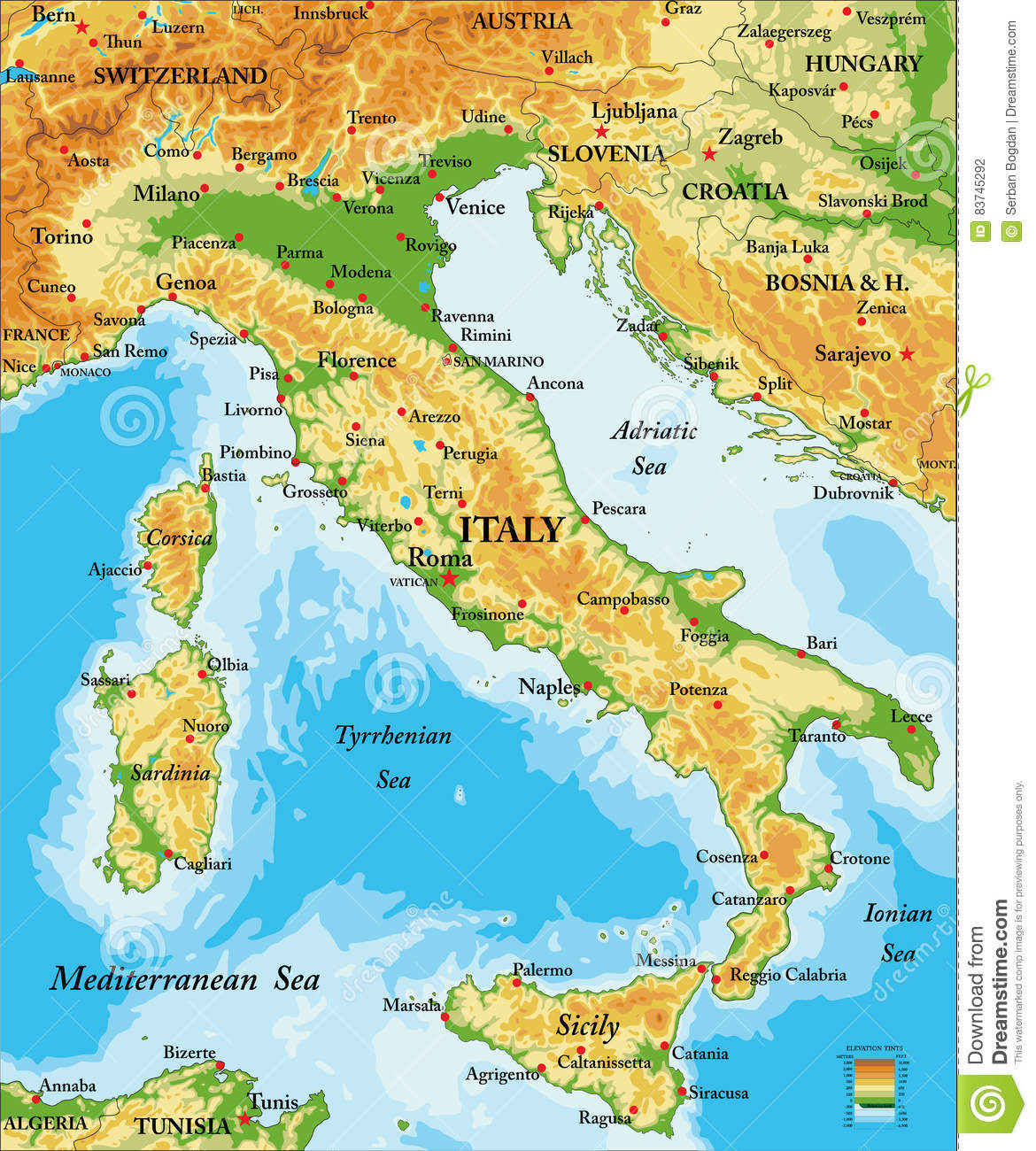 Italy Relief Map Stock Vector. Illustration Of Country encequiconcerne Carte De L Europe En Relief
