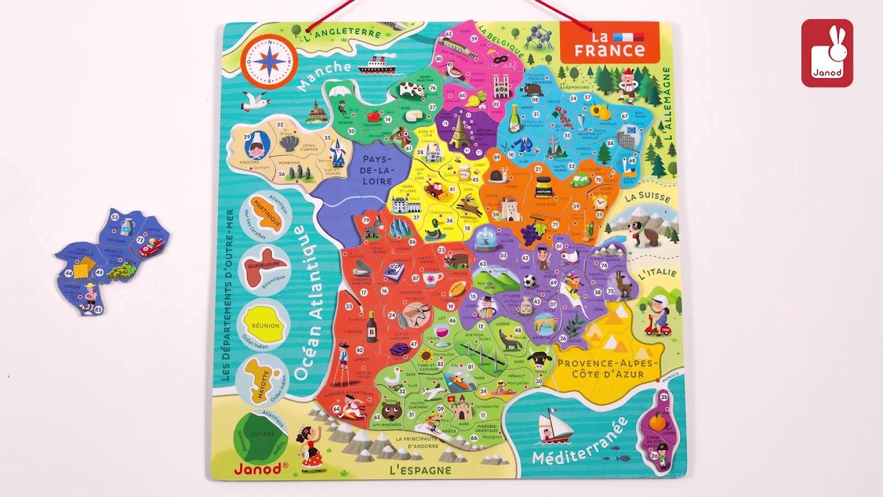 Janod - Puzzle France Magnétique - Nouvelles Régions serapportantà Puzzle Departement