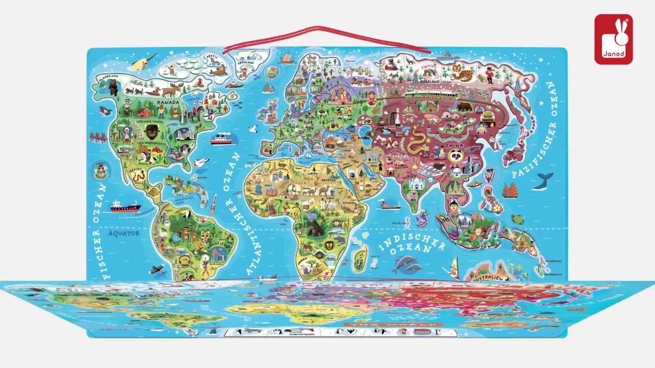 """Janod - """"puzzle Monde Magnétique"""" - Jeu Magnétique à Jeux De Carte Geographique Du Monde"""