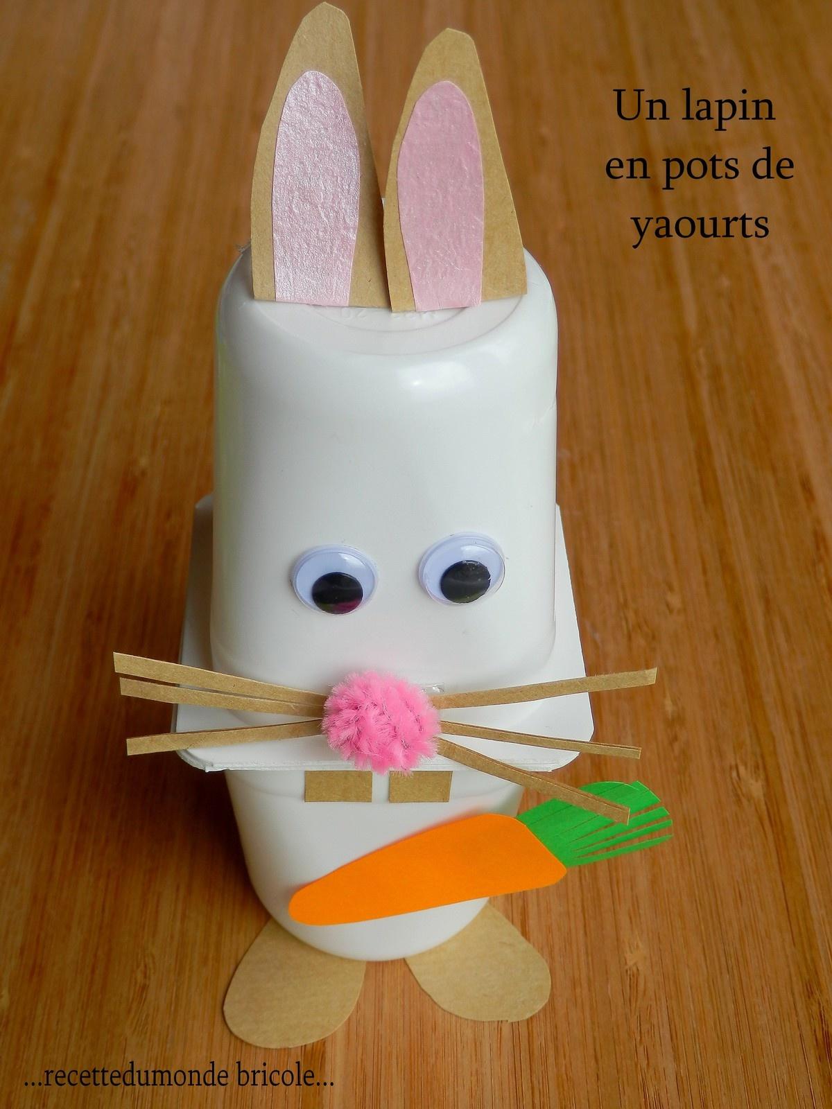 Je Bricole Avec Des Pots De Yaourts Un Lapin - Enfant Bébé serapportantà Activité Manuelle Sur La Ferme
