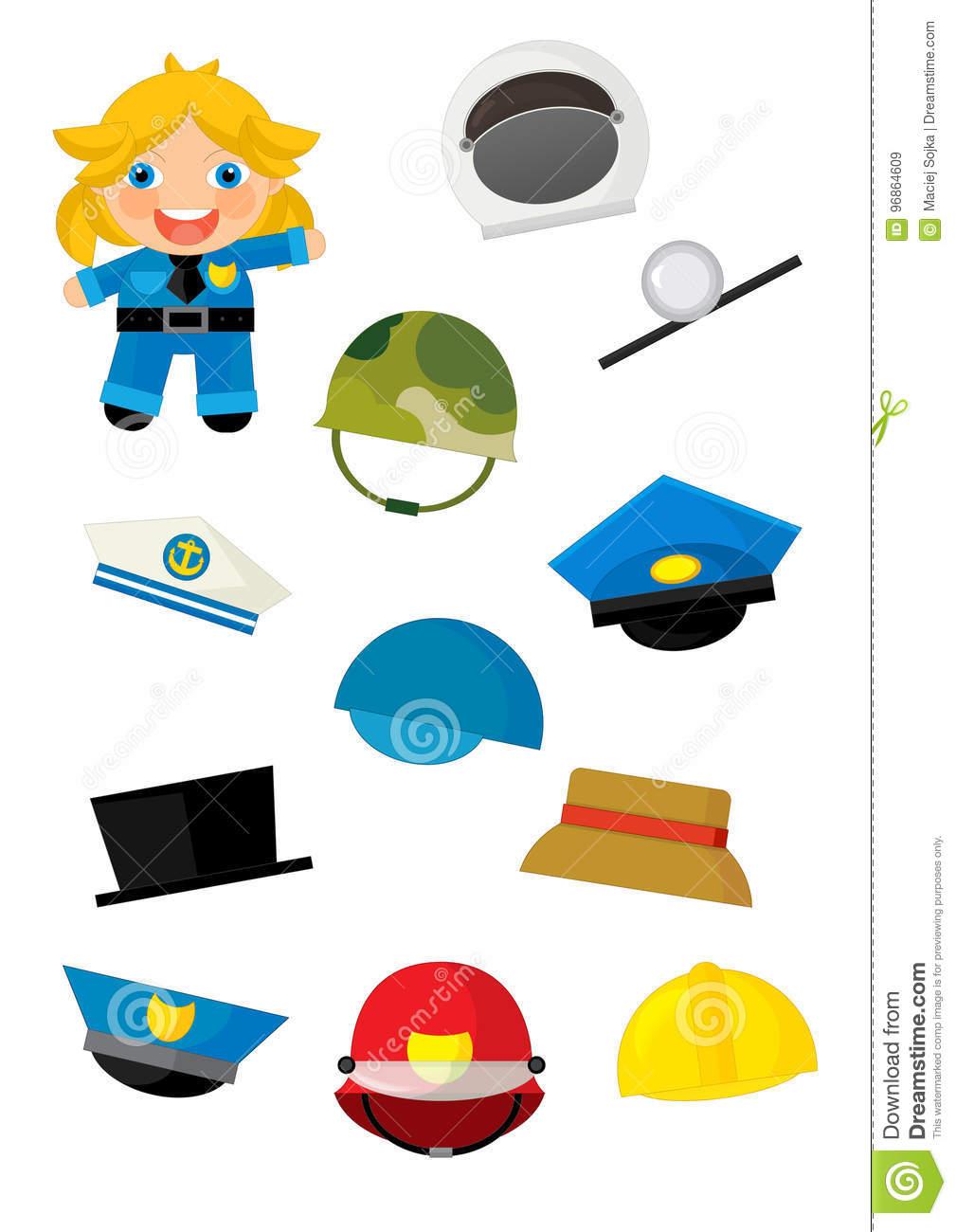 Jeu D'assortiment De Bande Dessinée Avec Trouver Les dedans Jeu Des Chapeaux