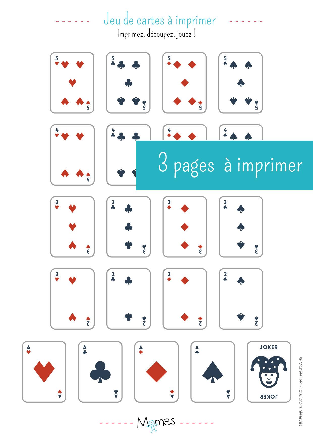 Jeu De 54 Cartes À Imprimer - Momes avec Jeux De Cartes Gratuits À Télécharger En Français