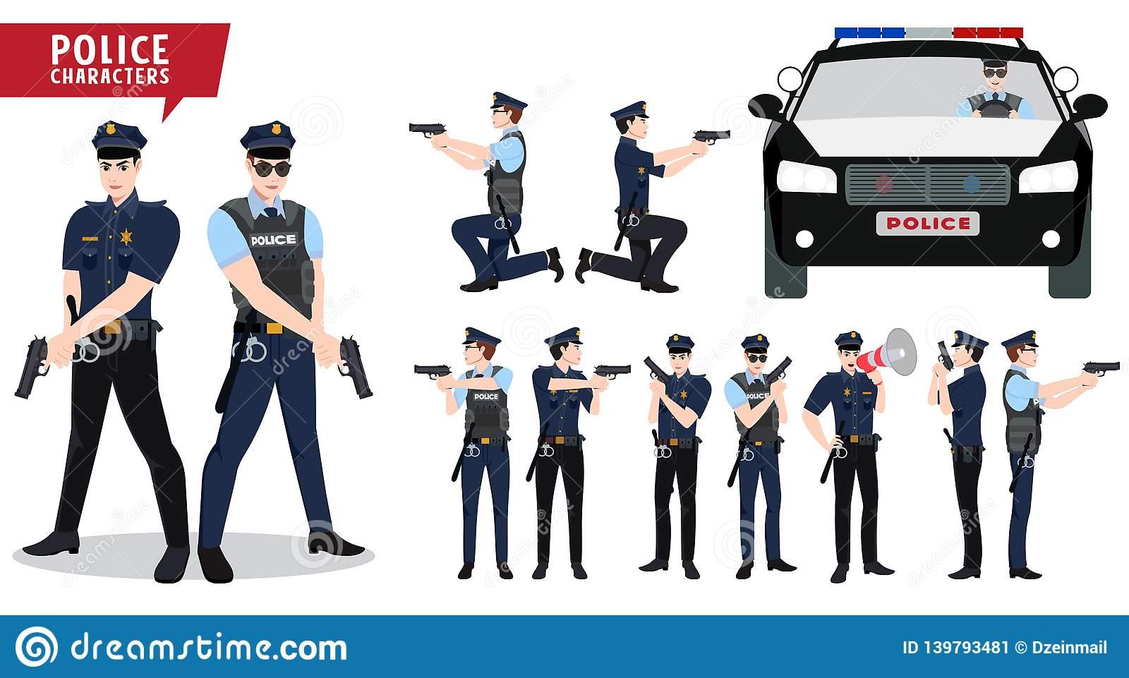 Jeu De Caractères De Vecteur De Policier Et De Voiture De encequiconcerne Jeux De Voiture Avec La Police