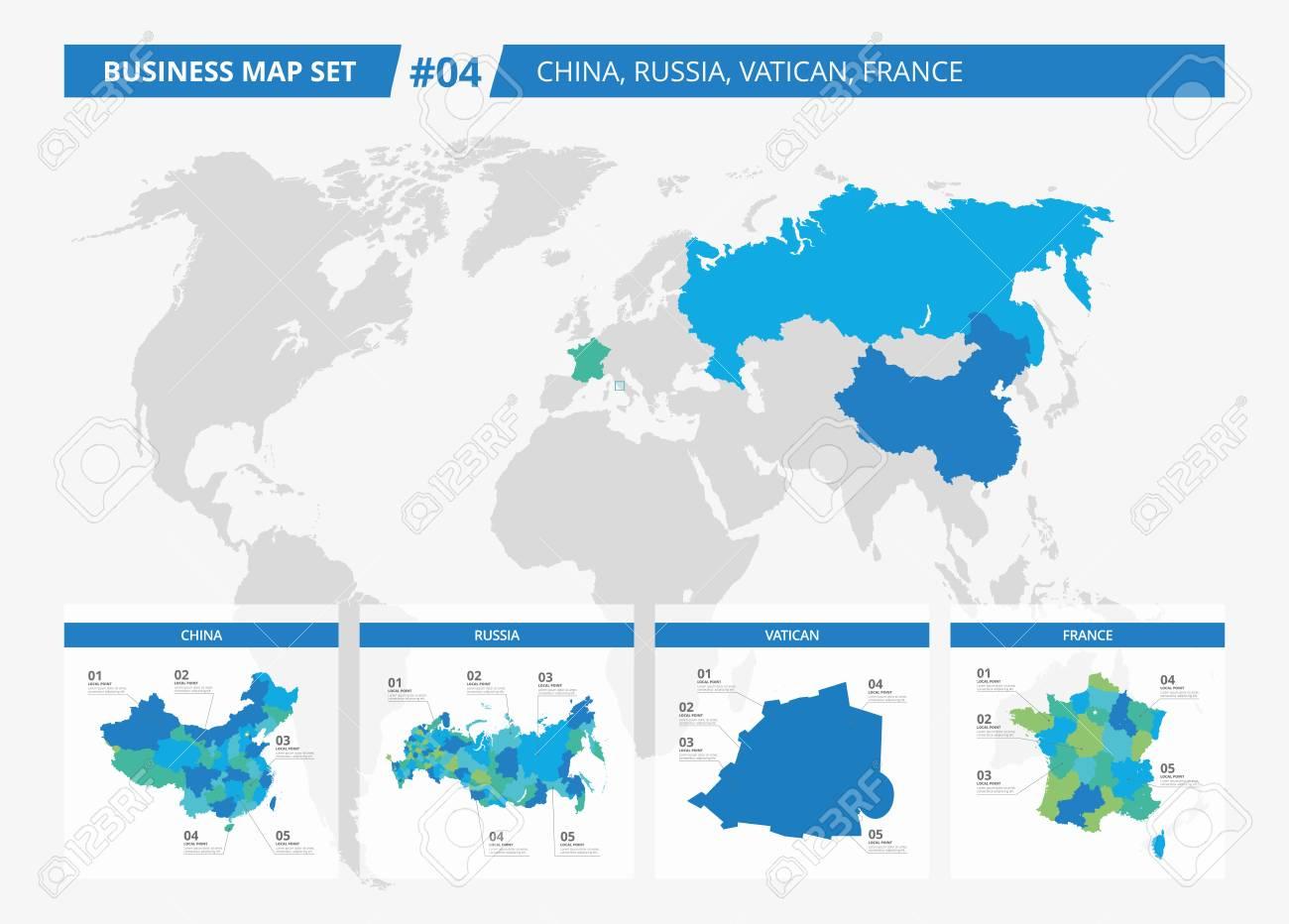 Jeu De Cartes Détaillées Modifiables De La Chine, La Russie, Du Vatican Et  De La France Et Les Comtés Silhouettes Sur La Carte Du Monde pour Jeu De Carte De France