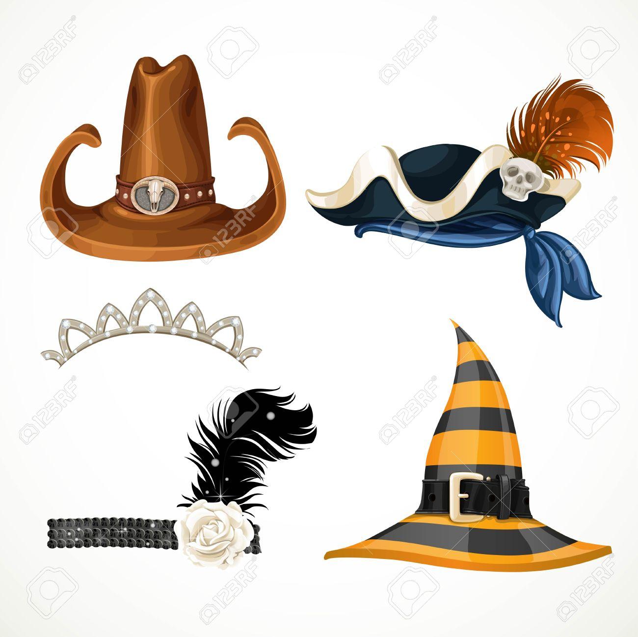 Jeu De Chapeaux Pour Les Costumes De Carnaval - Rétro, Diadème, Sorcière,  Chapeau De Pirate Et Chapeau De Cowboy Isolé Sur Un Fond Blanc à Jeu Des Chapeaux