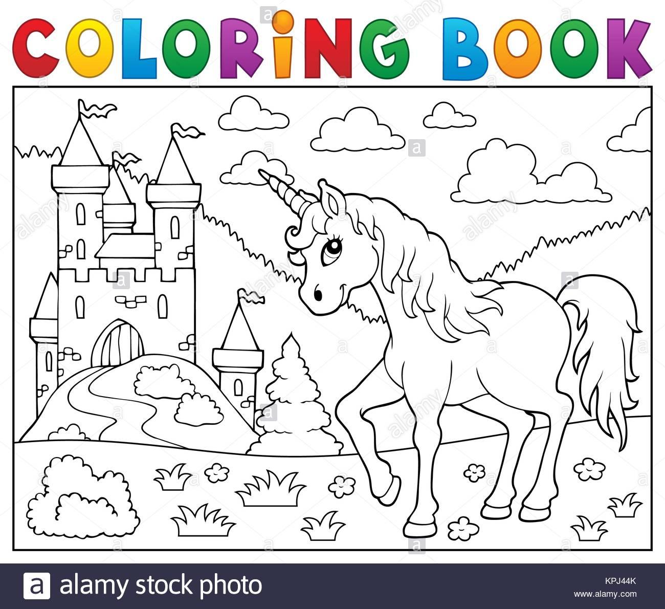 Jeu De Coloriage Licorne Près De Castle Banque D'images intérieur Jeux De Coloriage Licorne