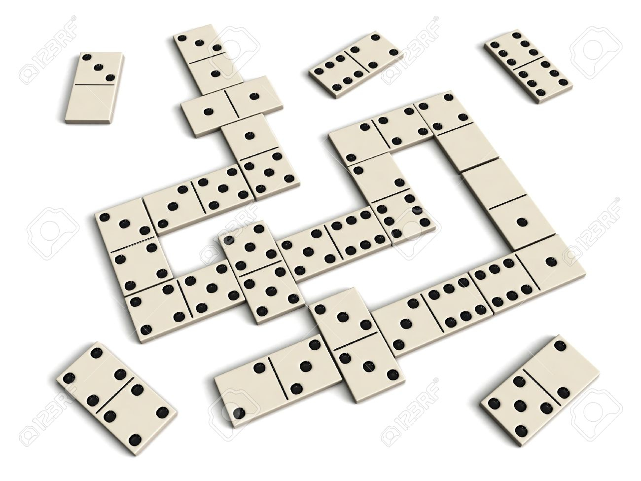 Jeu De Dominos - Dominos Blancs Isolés Sur Fond Blanc intérieur Jeu Du Domino