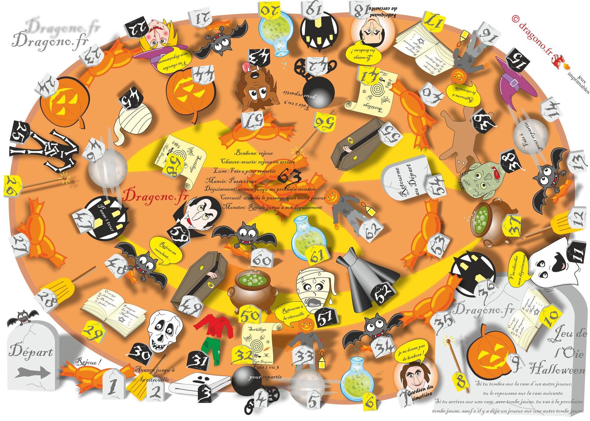 Jeu De L'oie À Imprimer Pour Halloween - Dragono.fr à Jeu De L Oie A Imprimer