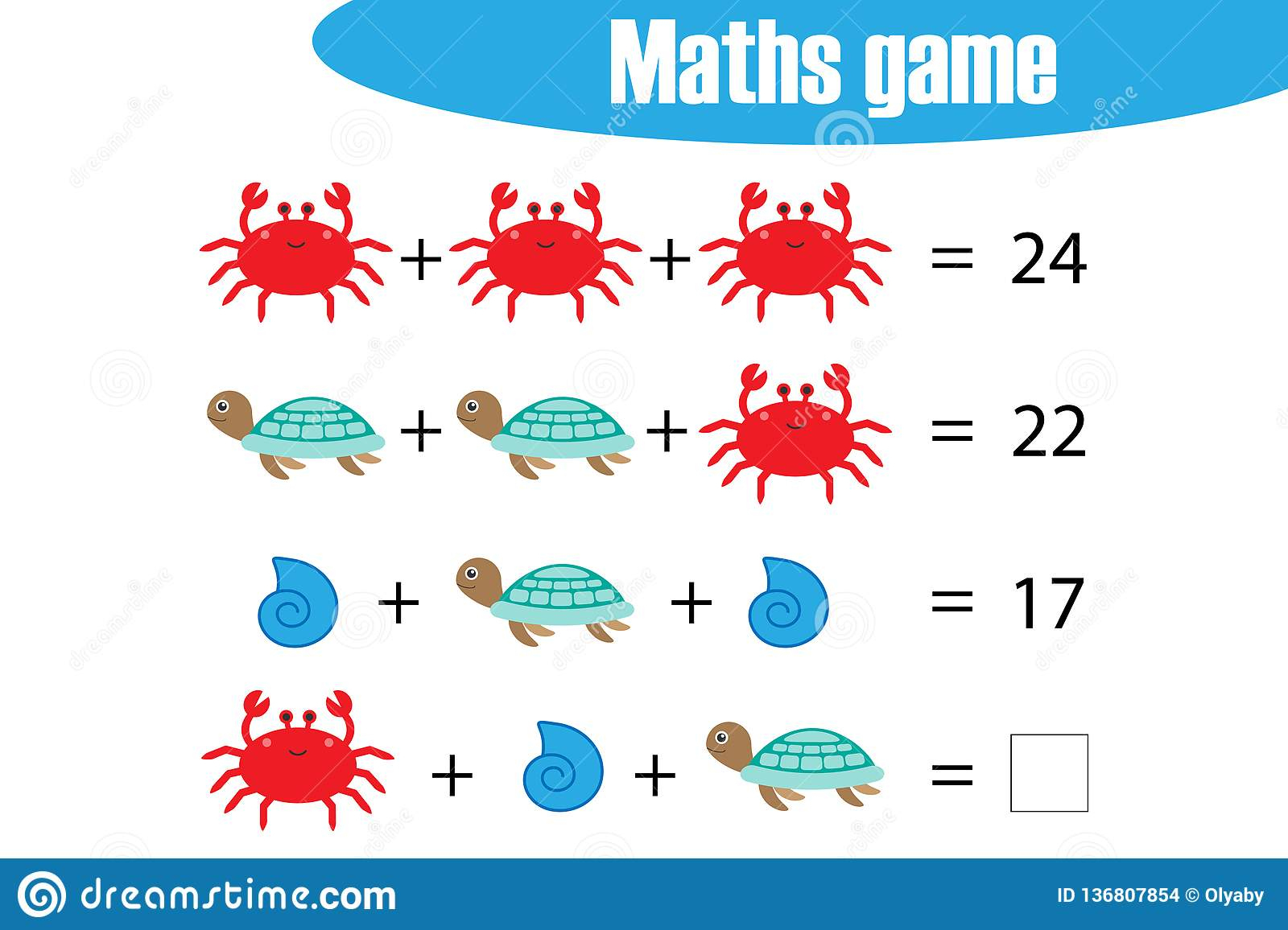 Jeu De Maths Avec Des Animaux D'océan D'images Pour Des dedans Jeux De Maths Facile