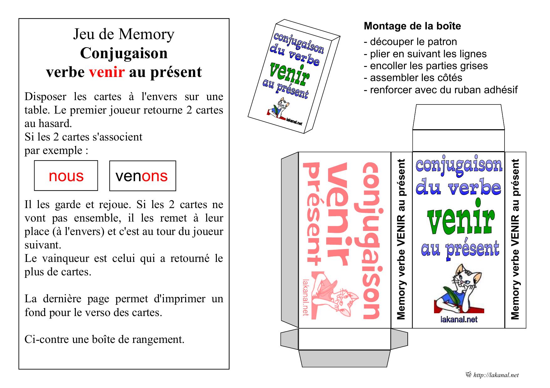 Jeu De Memory Conjugaison Verbe Venir Au Présent concernant Verbe Jeux