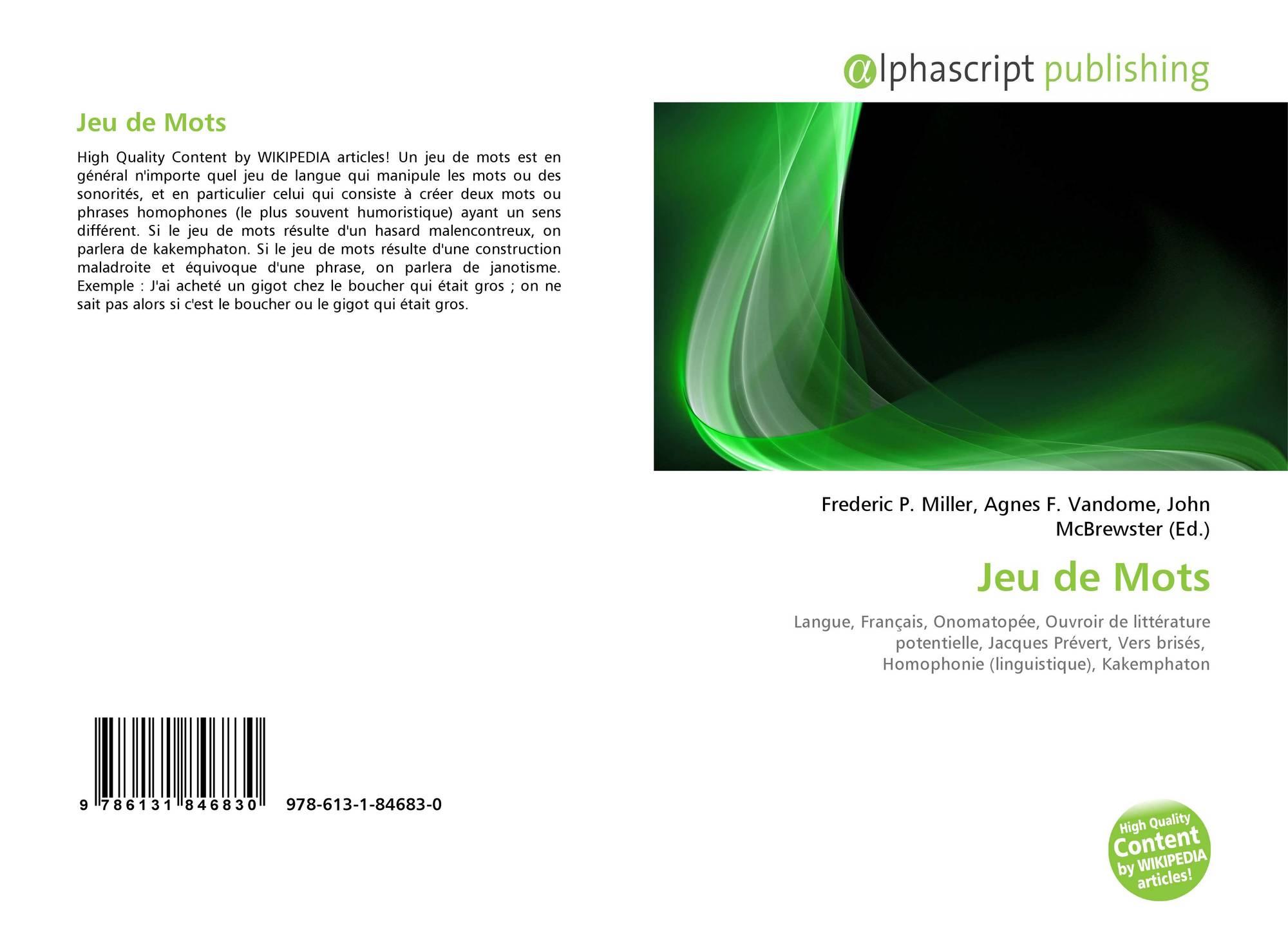 Jeu De Mots, 978-613-1-84683-0, 6131846839 ,9786131846830 concernant Application Jeux De Mots