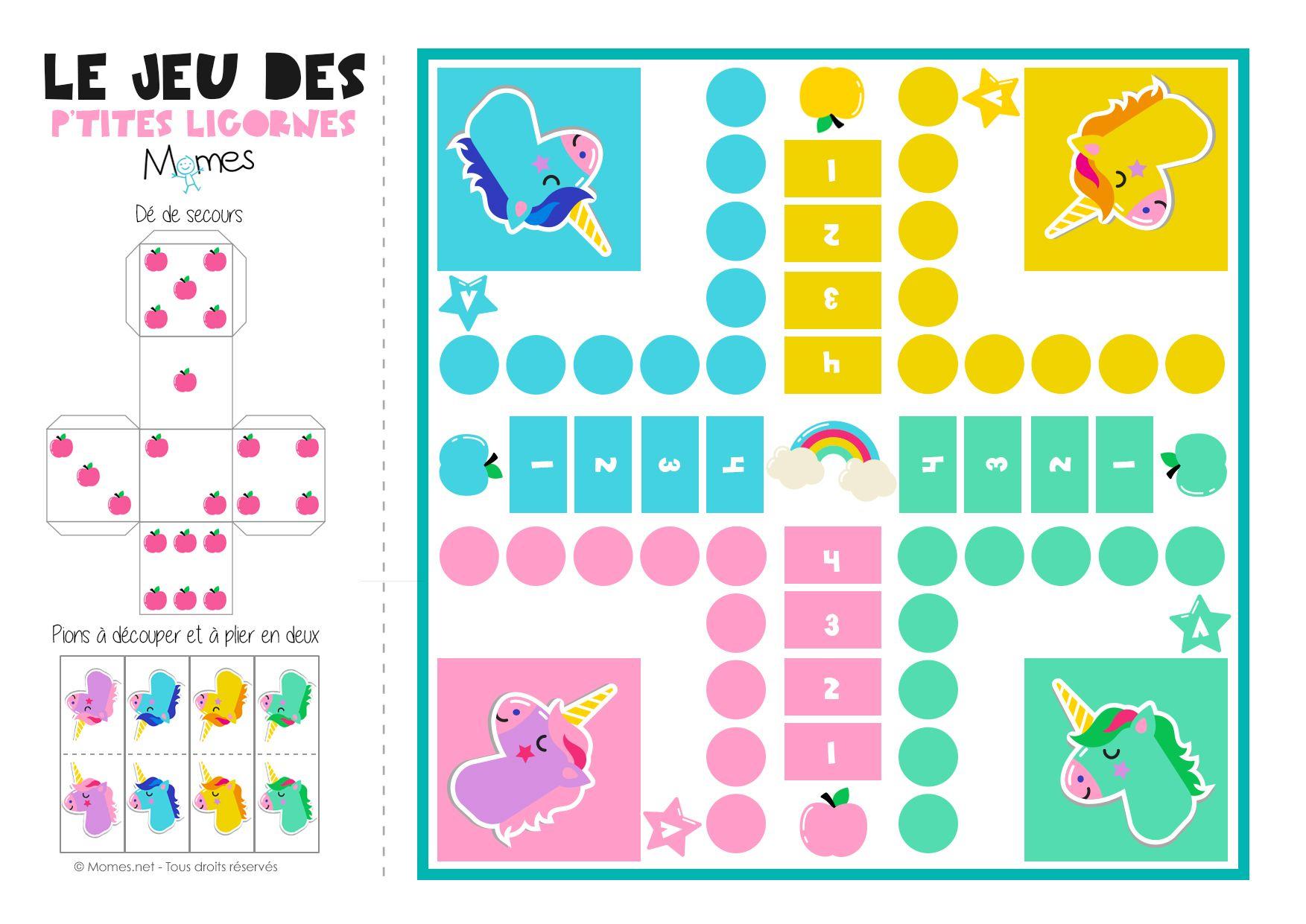 Jeu De Petits Chevaux À Imprimer Version Licornes ! | Cheval intérieur Plateau De Jeux De Société À Imprimer