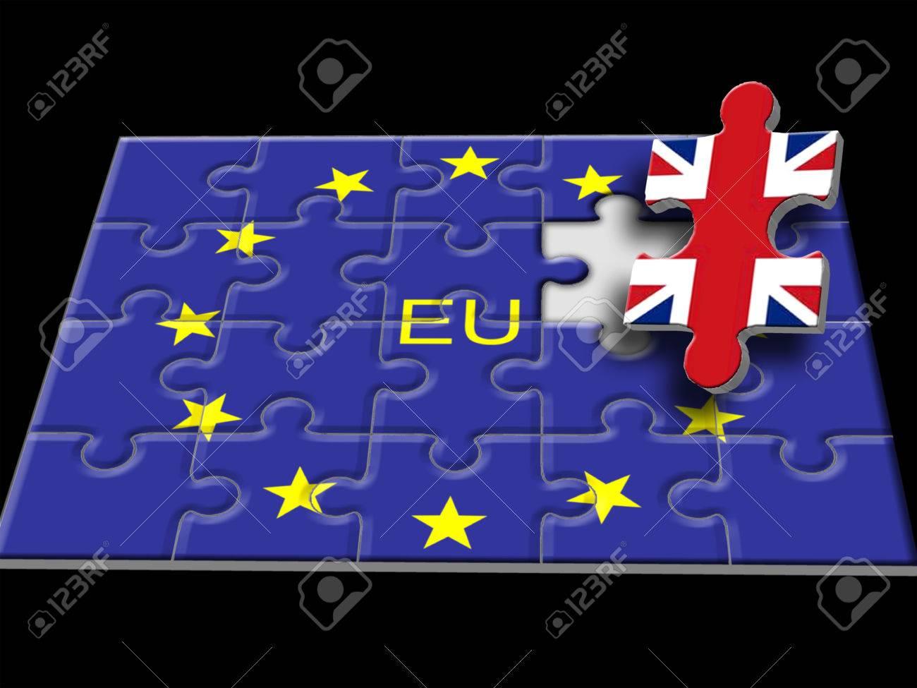 Jeu De Puzzle Composé Du Drapeau De L'union Européenne Avec Le Royaume-Uni  Comme Dernier Morceau à Jeux Union Européenne
