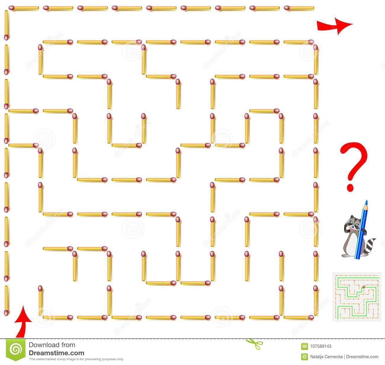 Jeu De Puzzle De Logique Avec Le Labyrinthe Devez Enlever concernant Activité Manuelle Avec Des Allumettes