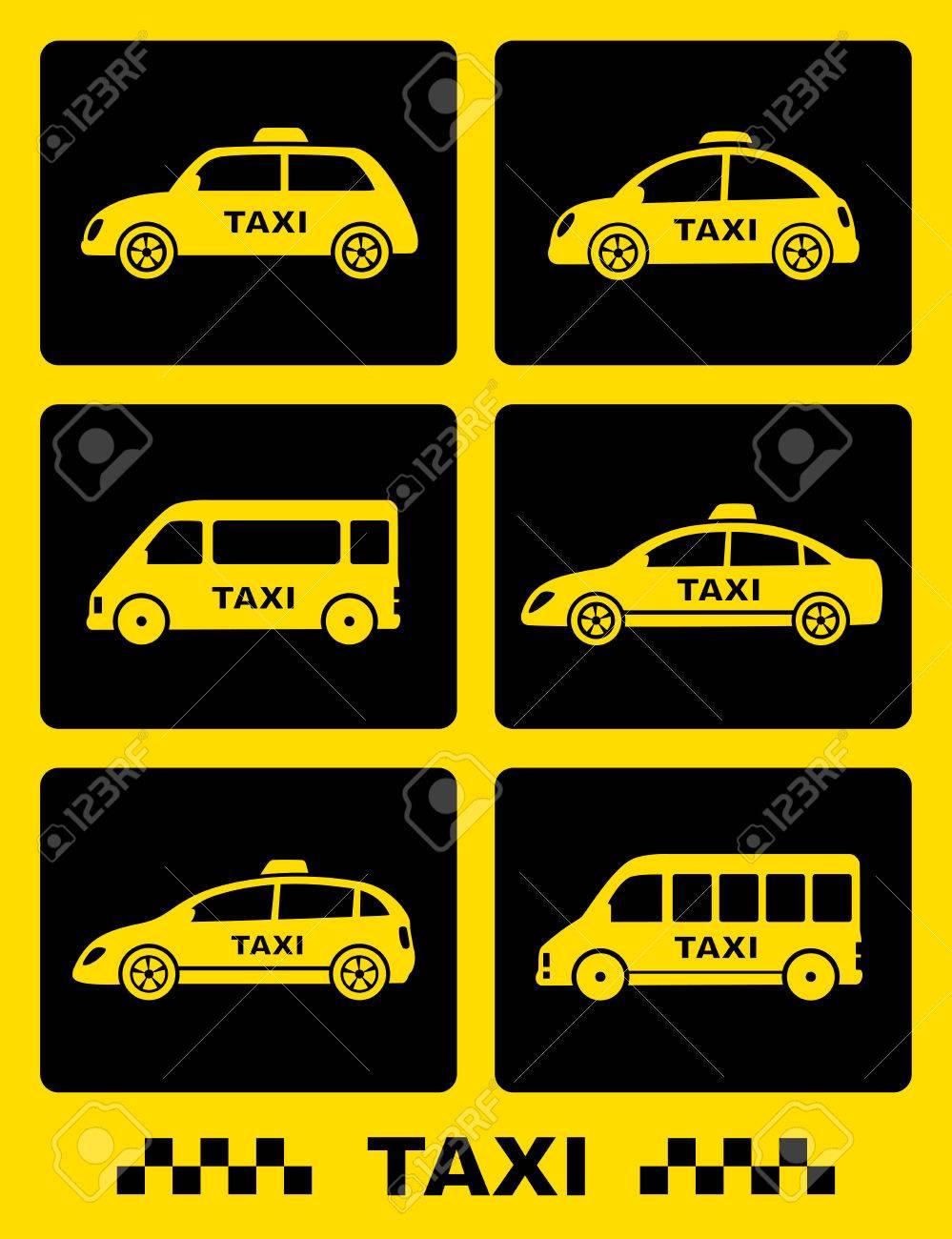 Jeu De Voiture De Taxi Icône Sur Boutons Noirs Sur Fond Jaune tout Le Jeu De La Voiture Jaune