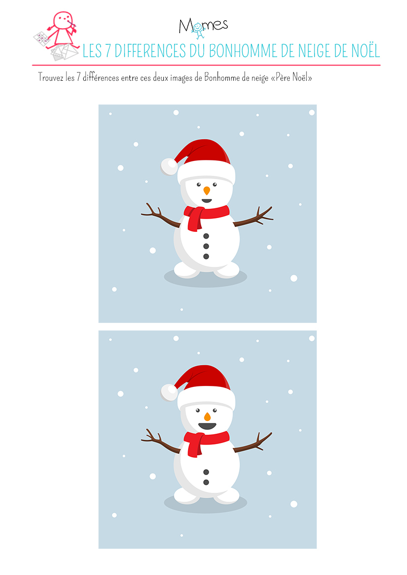 """Jeu Des 7 Différences : Le Bonhomme De Neige """"père Noël destiné Jeu Des 7 Differences"""