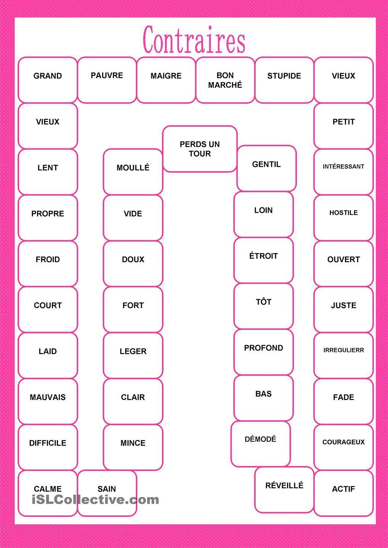 Jeu Des Contraires   Contraire Des Mots, Jeux Mémoire avec Jeux De Mémoire À Imprimer Pour Adultes