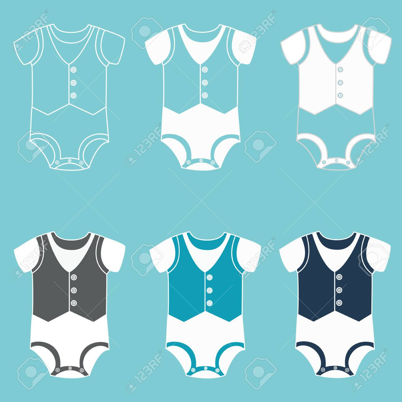 Jeu D'icônes Vêtements Pour Enfants Pour Bébé Nouveau-Né. Body Pour Un  Garçon. Illustration. dedans Jeux De Vetement Pour Garçon