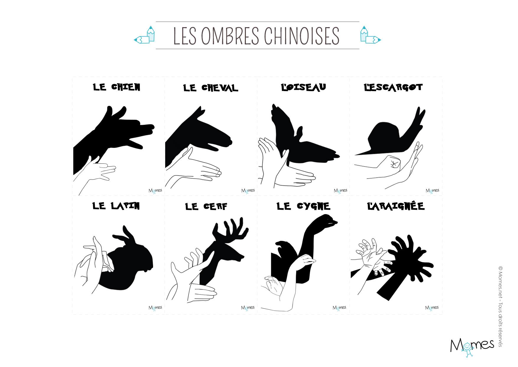 Jeu D'ombres Chinoises À Imprimer - Momes destiné Silhouette D Animaux À Imprimer