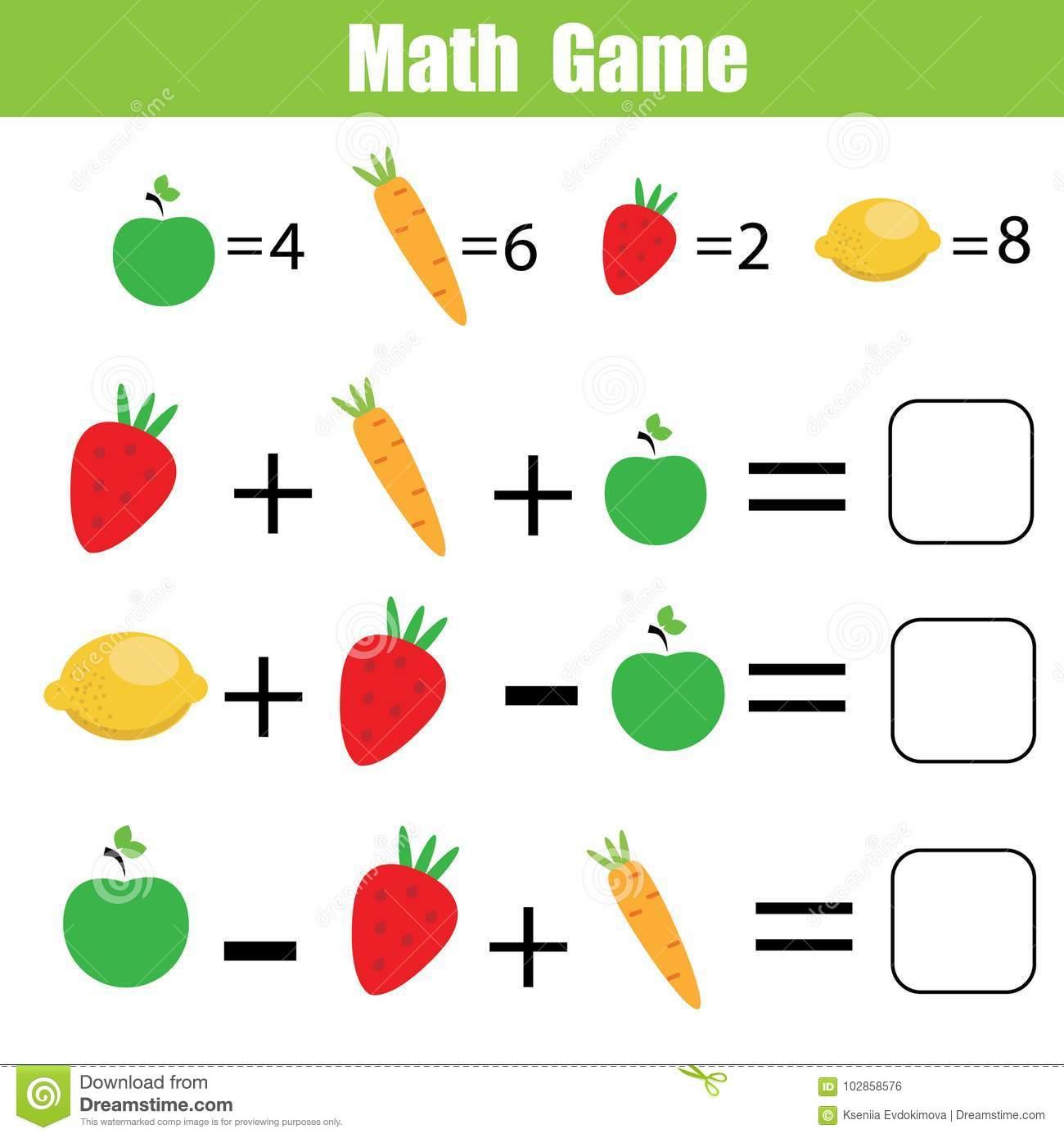 Jeu Éducatif De Maths Pour Des Enfants Équations De Compte concernant Jeux De Exercice De Maths
